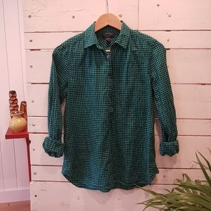 J. Crew Tops - J. Crew gathered popover 0 emerald gingham